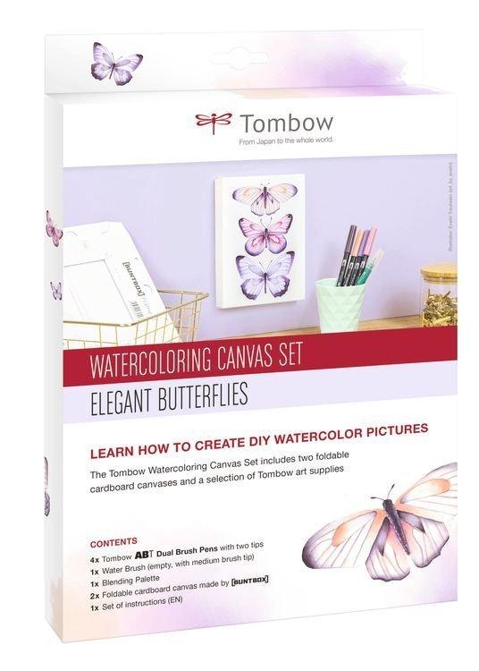 Zestaw Watercoloring Canvas Set Elegant Butterflies