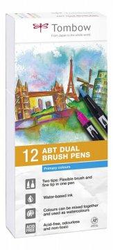 Tombow Set obostranih flomastera ABT Dual Brush Pen – Primary colours, 12 kom.