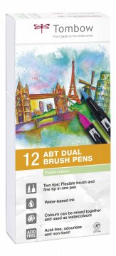 Tombow Set obostranih flomastera ABT Dual Brush Pen – Pastels, 12 kom.