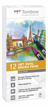 Tombow Set obostranih flomastera ABT Dual Brush Pen – Grey tone, 12 kom.