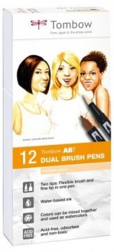 Tombow Set obostranih flomastera ABT Dual Brush Pen – Portrait colors, 12 kom.