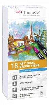 Tombow Set obostranih flomastera ABT Dual Brush Pen – Primary colours, 18 kom.