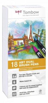 Tombow Set obostranih flomastera ABT Dual Brush Pen – Secondary colours, 18 kom.
