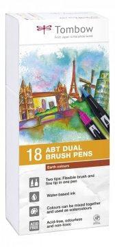 Tombow Set obostranih flomastera ABT Dual Brush Pen – Earth colours, 18 kom.
