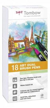 Tombow Set obostranih flomastera ABT Dual Brush Pen – Pastels, 18 kom.