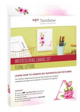 Zestaw Watercoloring Canvas Set Floral Letters